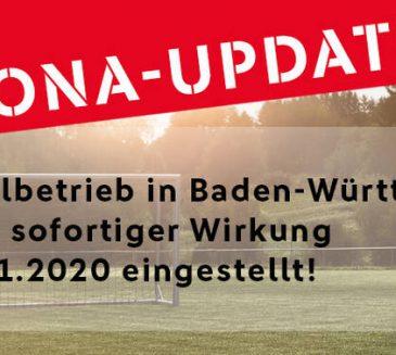 Spielbetrieb im Amateurfußball wird in Baden-Württemberg ausgesetzt bis zum 30.11.2020
